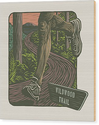 Morning Run On The Wildwood Trail Wood Print by Mitch Frey