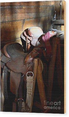 Morning Saddles Wood Print by Newel Hunter