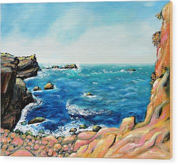 Wood Print featuring the painting Morning Sea With Birds On Rocks by Asha Carolyn Young