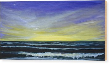 Morning Star And The Sea Oceanscape Wood Print
