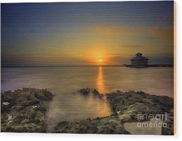 Morning Sun Rising In The Grand Caymans Wood Print by Dan Friend