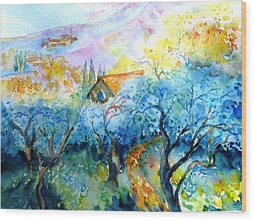 Morning Sunrise In A Tuscan Olive Grove Wood Print by Trudi Doyle