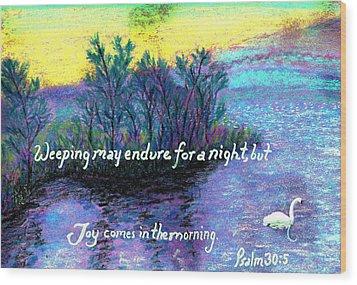 Morning Swan Wood Print by Catherine Saldana