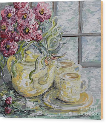 Morning Tea For Two Wood Print by Eloise Schneider