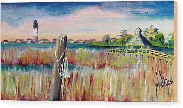 Morning View In South Port Looking At Oak Island Wood Print by Jim Phillips