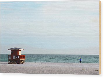Morning Walk Beach Art By Sharon Cummings Wood Print by William Patrick