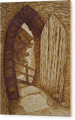 Wood Print featuring the painting Morning Walk On The Beach Original Coffee Painting by Georgeta Blanaru