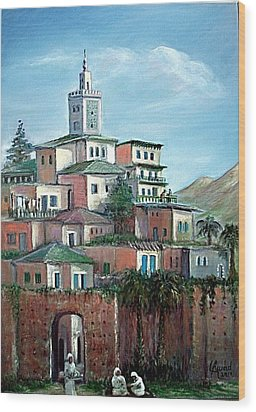 Wood Print featuring the painting Moroccan Village - Alkasaba by Laila Awad Jamaleldin