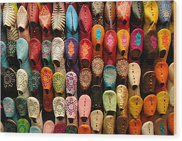 Moroccan Babouches Old Medina Marrakesh Morocco Wood Print by Ralph A  Ledergerber-Photography