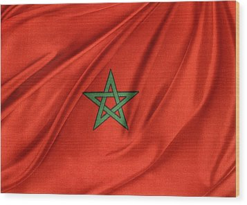 Moroccan Flag Wood Print by Les Cunliffe