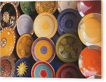 Moroccan Pottery On Display For Sale Wood Print by Ralph A  Ledergerber-Photography