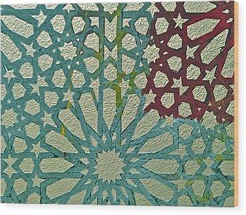 Moroccan Tile Design Wood Print by Karim Baziou