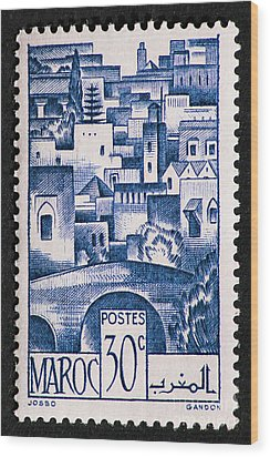 Morocco Vintage Postage Stamp Wood Print by Andy Prendy