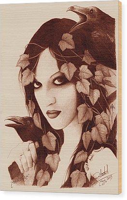 Morrigan Wood Print by Yuri Leitch