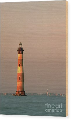 Morris Island  And Sulivan Island Lighthouses  Wood Print by John Harmon
