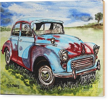 Morris Minor Wood Print by Maria Barry