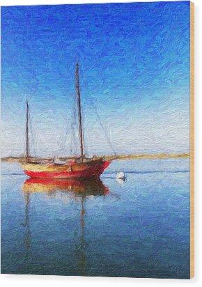 Morro Bay Blue Wood Print