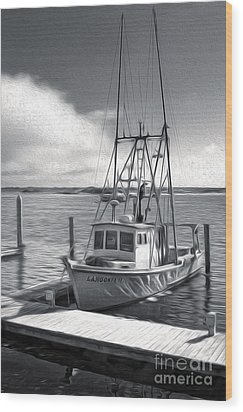 Morro Bay Fishing Boat In Duo-tone Wood Print by Gregory Dyer