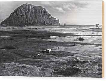 Morro Bay - Morro Rock - Desaturated Wood Print by Gregory Dyer