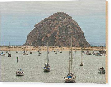 Morro Bay Rock At Dawn Wood Print by Artist and Photographer Laura Wrede