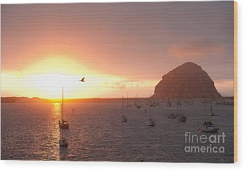 Morro Bay Rock At Sunset Wood Print by Artist and Photographer Laura Wrede