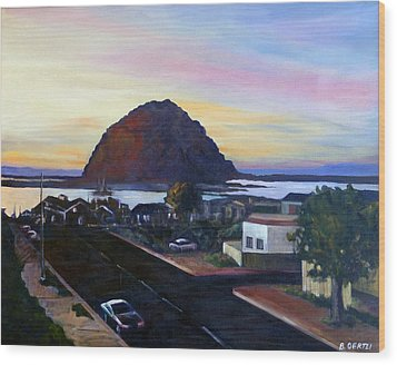 Morro Rock At Night Wood Print