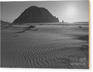 Morro Rock Silhouette Wood Print by Terry Garvin