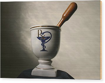 Mortar And Pestle Two Wood Print