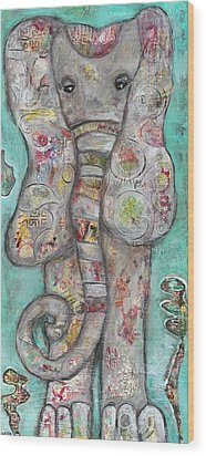 Mosaic Elephant Wood Print by Kirsten Reed