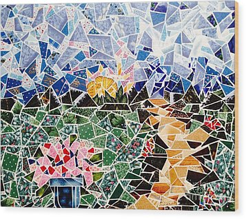 Mosaic Garden Path Wood Print by Dani Abbott