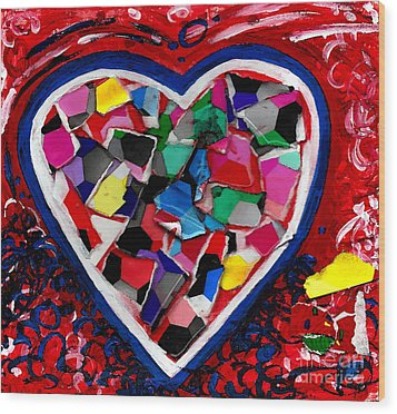 Mosaic Heart Wood Print by Genevieve Esson