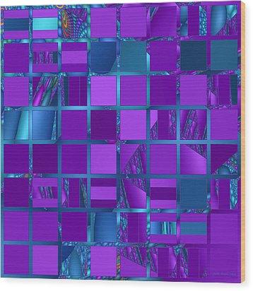 Mosaic In Purple And Teal Wood Print by Judi Suni Hall