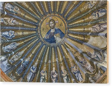 Mosaic Of Christ Pantocrator Wood Print by Ayhan Altun