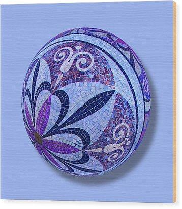 Mosaic Orb 1 Wood Print by Tony Rubino