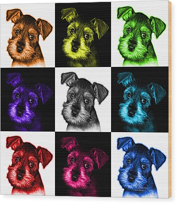 Mosaic Salt And Pepper Schnauzer Puppy 7206 F - V2 Wood Print by James Ahn