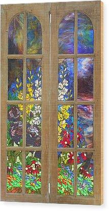 Mosaic Stained Glass - Flower Garden Wood Print by Catherine Van Der Woerd