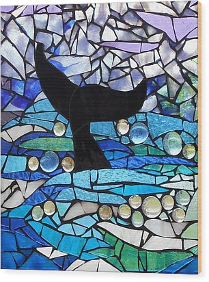 Mosaic Stained Glass - Whale Tail Wood Print by Catherine Van Der Woerd