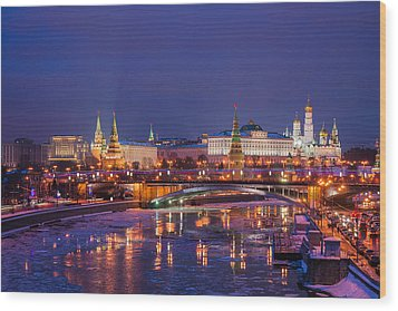 Moscow Kremlin And Big Stone Bridge At Winter Night - Featured 3 Wood Print by Alexander Senin