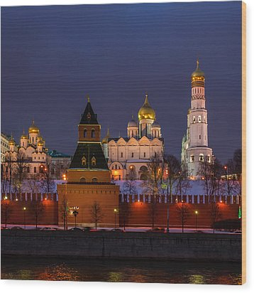 Moscow Kremlin Cathedrals At Night - Square Wood Print by Alexander Senin