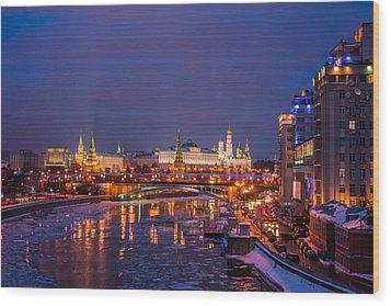 Moscow Kremlin Illuminated Wood Print by Alexander Senin