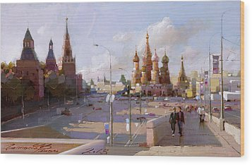 Moscow. Vasilevsky Descent. Views Of Red Square. Wood Print by Ramil Gappasov