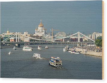 Moscow-river Traffic In Summertime - Featured 3 Wood Print by Alexander Senin