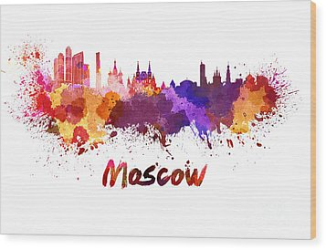 Moscow Skyline In Watercolor Wood Print by Pablo Romero