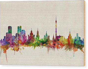 Moscow Skyline Wood Print by Michael Tompsett