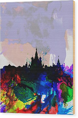 Moscow Watercolor Skyline Wood Print by Naxart Studio