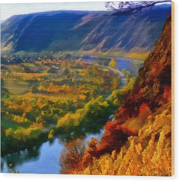 Mosel In The Fall Wood Print by Michael Pickett