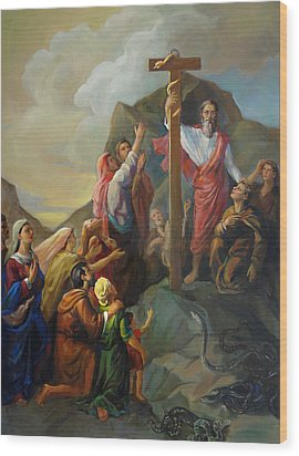 Wood Print featuring the painting Moses And The Brazen Serpent - Biblical Stories by Svitozar Nenyuk