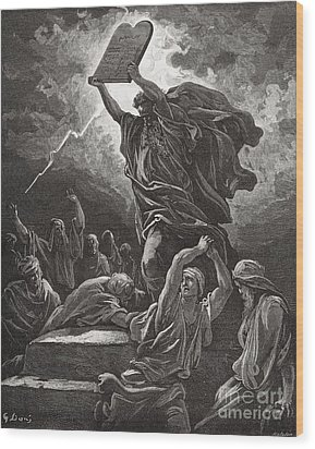 Moses Breaking The Tablets Of The Law Wood Print by Gustave Dore