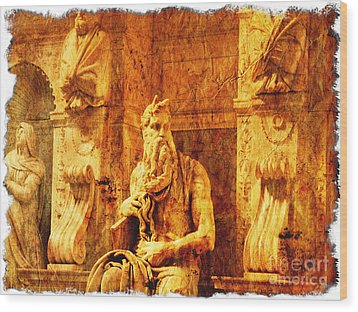 Moses Wood Print by Stefano Senise
