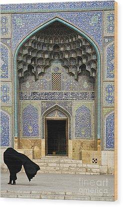 Mosque Door In Isfahan Esfahan Iran Wood Print